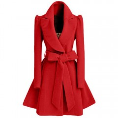 long trench coat for women Slim female coat Sashes down Red Khaki Windbreaker Outerwear Autumn wi
