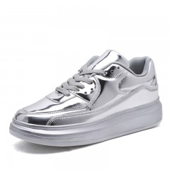 1 Pairs PU Bling Shinny Sliver Sneakers Women Shoes  New Spring Autumn Fashion Women Casual Silver350853 6