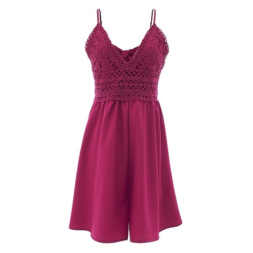 6259bcf45202 Item specifics  Seller SKU WRuAqconfj  Brand  Bow Deep V Neck Backless Wine  Red Playsuits Hollow Out Lace Shorts Rompers Spaghetti Strap Jumpsuits ...