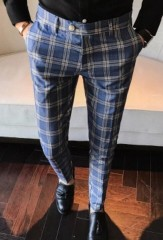 Plaid Pants Mens Calca Social Trousers Mens British Pants Mens Skinny Formal Trousers Business Pa