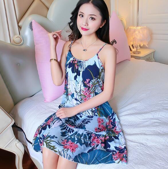 d9d697783d80 Item specifics  Seller SKU wIMiA  Brand  Fdfklak Women Nightshirt Night  Dress Spaghetti Strap Summer Sleepwear Nightgowns Printing Night Gown ...