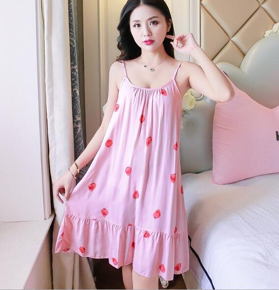 3d8a4551c67b Item specifics  Seller SKU ldCBH  Brand  Fdfklak Women Nightshirt Night  Dress Spaghetti Strap Summer Sleepwear Nightgowns Printing Night Gown ...