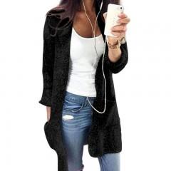 Women Coat S-5XL Plus Size Loose Streetwear Long Sleeve Sweater loose knitting Cardigan Sweater Black193 S