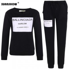 Women Outfit Sportswear Spring Autumn Winter Printed Letters Ladies Fleece Tracksuits Long-sleeve Black193 L