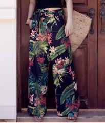 Quality Floral Print Wide Leg Pants Women Long Casual Pant 2018 Summer Boho Beach Elastic Chiffon photo771 s