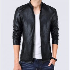 New Masculino Fashion Male PU Leather Jacket Men Solid Faux Fur Coats Trend Slim Fit Motorcycle J