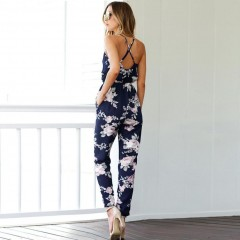 Bohemian Backless Sleeveless V-Neck Floral Printed Loose Floral Summer Clothes Summer Beach Jumsuit XL