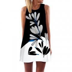Summer Dress Women Floral Print Chiffon Dress Sleeveless Boho Style Short Beach Dress Sundress XXXL