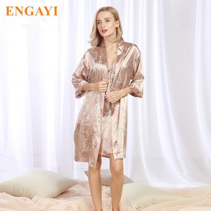 fd7578b88d Autumn Women Night Dress 2 Pcs Robes Bathrobes Longue Femme Robe Set Silk  Satin Nightgown Nightdr