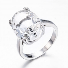 Topaz Ring 925 Sterling Silver F0ive Stone Rring Round Natural Gemstone ring For Women Participat white29 6