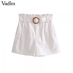 women basic white denim shorts bow tie belt elastic paperbag waist pockets ladies summer shorts white29 XS