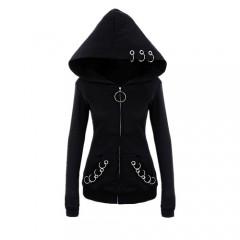 punk style 2018 autumn winter black fleece hoodie sweatshirt iron rings zipper hooded cool dark Black193 S