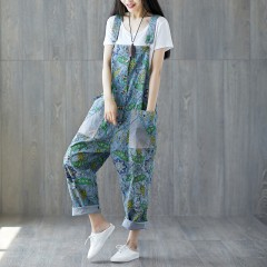 Summer Printed Washed Holes Denim Jumpsuits Ladies Thin Denim Overalls Female Patchwork Printing Print Jumpsuits173 one size