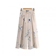 women elegant floral wide leg pants pockets zipper design European style female casual ankle leng as picture200002130 XS