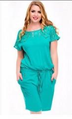United States plus size women's jumpsuit new summer round neck women's lace pockets jumpsuit Green175 XXL