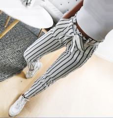 2018 women fashion casual mid waist pants white striped bow tie drawstring sweet elastic waist White29 m