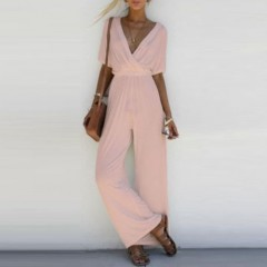 2018Female Casual Summer Clothing 2018 Fashion Women V Neck Loose Chiffon Playsuit Romper  Short Pink1052 s