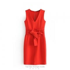 Office wear dresses women elegant V neck red dress ruffled bow tie sashes sleeveless solid female XS Red10