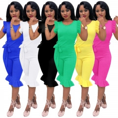 Women's Solid Color Backless Sleeveless Jumpsuit Rompers for Daily Wear pink xl