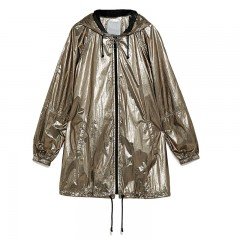 Plus Size Shiny Metallic Color Women Jackets and Coats Casual Hooded Loose Waterproof Bomber Jacket Gold350850 XXL