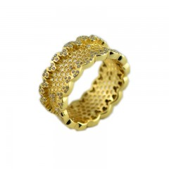 925 Sterling Silver Rings with Clear CZ Honeycomb Lace Ring for Women Gift Wedding Jewelry 5