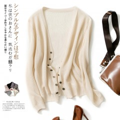 Cardigans Women Thin Knit Open Cocoon Shrug Wrap Top Fashion Wild Long Sleeved V Neck Patterns Apricot771 M