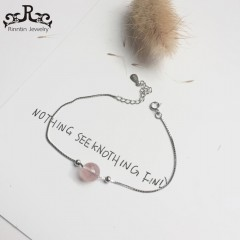 Real 925 Sterling Silver Women Charm Bracelets Pink Quartz Silver Color Female Wedding 925 sterling silver