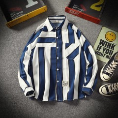 new spring autumn men's long sleeved striped shirts male casual plus size 5XL comfortable shirt's Blue173 M