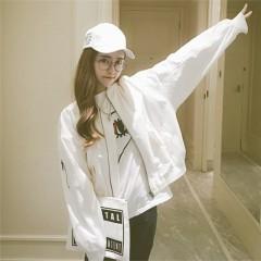 Korean Style Women Baseball Jackets Female Basic Coats Army Green & White Color Baseball Coat white771 one size