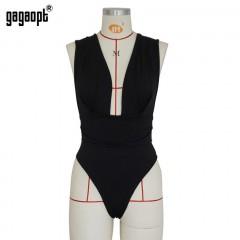 Bodysuits Solid Body Top Romper 2018 Women Jumpsuits V Neck Sexy Overall Feminino Club Summer Black193 s