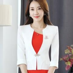 Single Button Office Lady Plus Size OL Traditional Classical Half Sleeve Female Women Blazer Jack White29 4XL