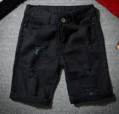 2018 Summer Casual Jeans Shorts Men Trousers Hole Ripped Distressed Short Denim Male Hip Hop Stre Black193 M