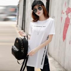 Summer T Shirt Women Top Tee Short Sleeve Kawaii Cotton Female T-shirt Side Opening Long T-shirts white771 S