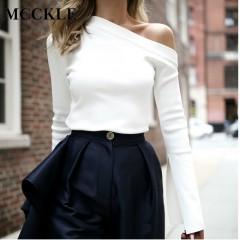 Women Off Shoulder White Blouse Summer Fashion Slash Neck Slim Top Solid Long Sleeve Sexy Skew Co white29 l
