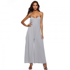 Vacation 2018 Strap Boho High Waist Rompers Women Jumpsuit Long Playsuits Casual Loose Sexy Gray691 s
