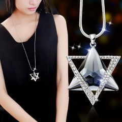 long section six-star sweater chain necklace Fine jewelry Crystals from Swarovski female clothes As picture One Size