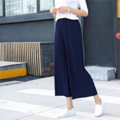 Pant for Women Wide Leg Pant Chiffon Female Thin Loose Pantskirt Trousers Plus Size Ladies Culott Navy blue173 one size