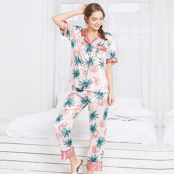 1b4bccbd0 Silk Womens Sleeping Pajama Set Turn-down Collar Women Lingeries with Long  Pants Short Sleeve