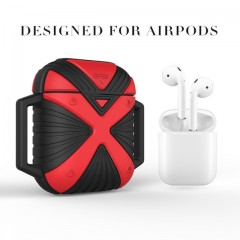 Apple AirPods Case Silicone Shock Proof Key-chain Protector Cases+Strap for Apple AirPods Silicon Black Red