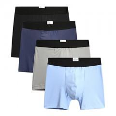 Men Panties Boxer Underwear Plus Size 4pcs/lot XXXL Cueca Comfort Lingerie Boy Solid Color Elasti
