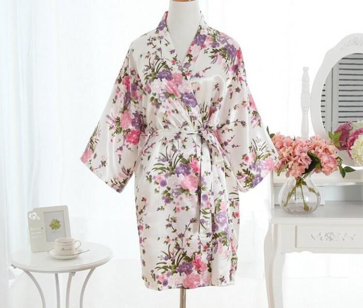 Satin Wedding Bride Bridesmaid Robe Print Floral Bathrobe Short ... 7a8d26d33
