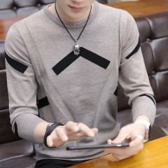 Long Sleeve Balck Mens Sweater Pullovers Autumn O Neck Sweaters For Men Solid  Casual Slim Knitti