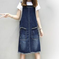 Large Size M-5XL Summer Jeans Dress Women Sleeveless Preppy Ladies Suspender Denim Dress Sundress