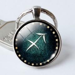 12 Constellation Round Time Gem Key Rings Cancer Leo Virgo Libra Scorpio Keychain Pendant Gift Fo