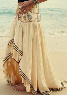 7275de632 Women Linen Cotton Long Skirts Elastic Waist Pleated Maxi Skirts Beach Boho  Vintage Summer Skirts: Product No: 2136730. Item specifics: Seller ...