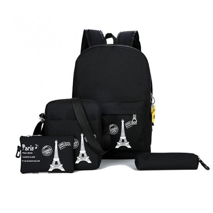 fa3cbe5a1f8a Canvas Backpack 3 Pcs/set Women School Backpacks Schoolbag For Teenagers  Girls Student Book Bag B
