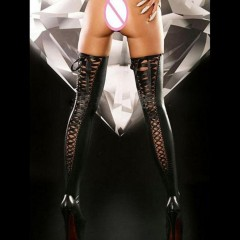 Sexy Women Lingerie Comfortable Thigh-high Stockings Leather Lace Bow Long with Hollow Out Bow Ba