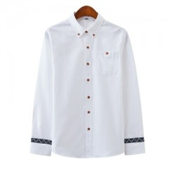 New Autumn Oxford Mens shirts long sleeve Cotton casual shirt solid High quality Stitching slim S
