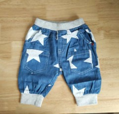 Elastic Waist Harem Pants Knee Length Cotton Star Print Denim Pant Blue Boys Clothing Kids Pants