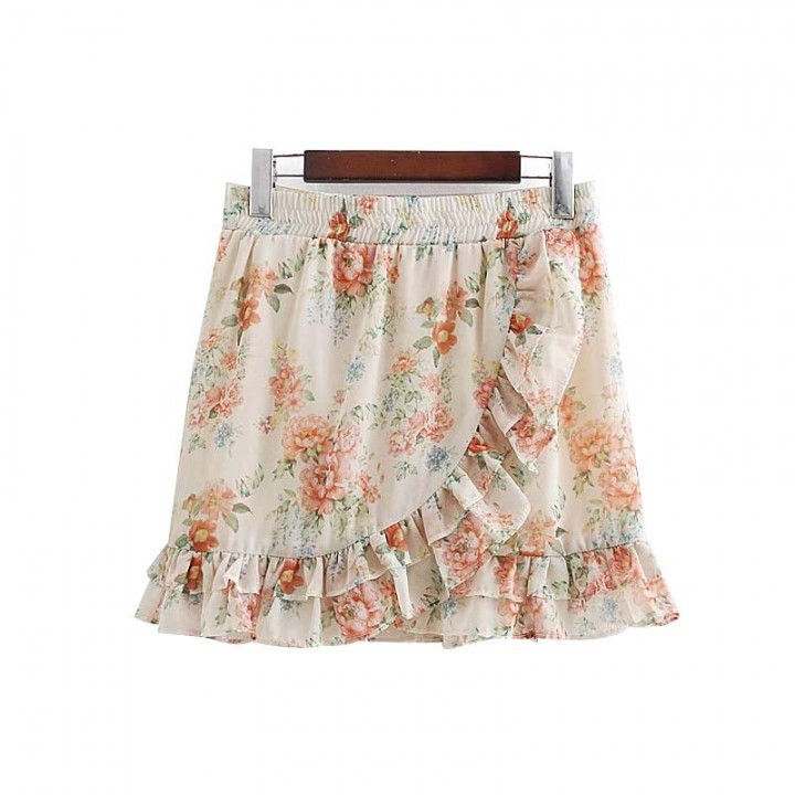 5f84b9e11 women sweet ruffles floral print chiffon skirt elastic waist lady summer  casual wear mini skirts